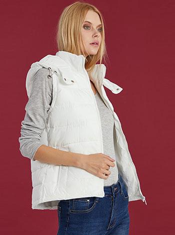 Μπουφάν γιλέκο με τσέπες, με αποσπώμενη κουκούλα, κλείσιμο με φερμουάρ, λευκο