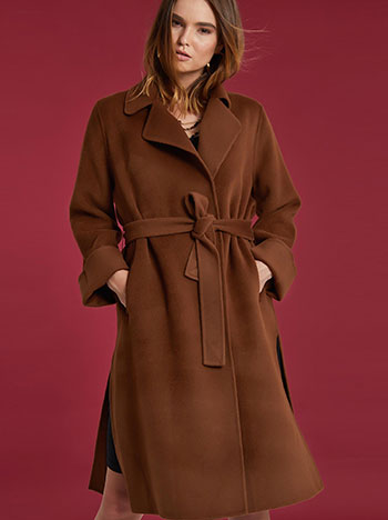 Μάλλινο μακρύ παλτό με τσέπες WE927.7951+2
