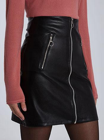 Mini φούστα δερματίνης με φερμουάρ, διακοσμητικές τσέπες, μαυρο