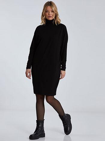 Oversized ζιβάγκο φόρεμα, μακρύ μανίκι, ύφασμα με ελαστικότητα, απαλή υφή, μαυρο