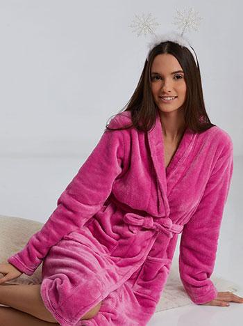 Fleece ρόμπα, με τσέπες, αποσπώμενη ζώνη, απαλή υφή, φουξια