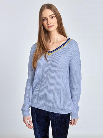 Πλεκτό πουλόβερ με ρίγες στη λαιμόκοψη WL1156.9276+1 μπλουζεσ πουλοβερ