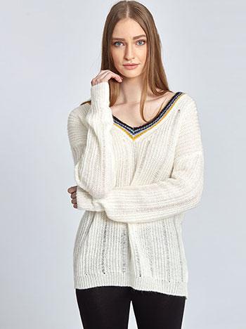 Πλεκτό πουλόβερ με ρίγες στη λαιμόκοψη WL1156.9276+2 μπλουζεσ πουλοβερ