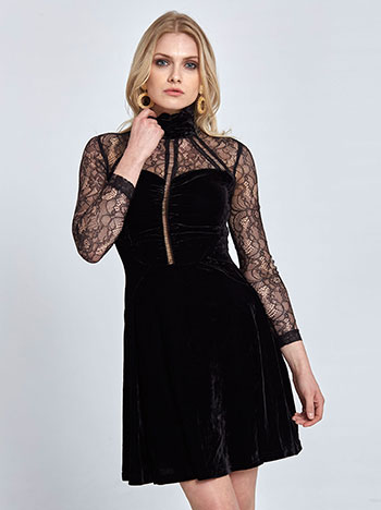681bebeb201b Βελούδινο mini φόρεμα με δαντέλα WL1249.8272+1 WL1249.8272+1 ⋆ e ...