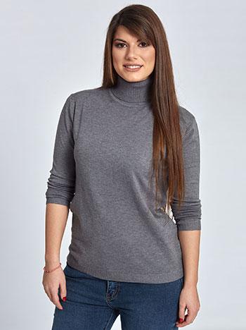 Plus size ζιβάγκο πουλόβερ, τελειώματα σε ριπ, ελαστικό ύφασμα, γκρι