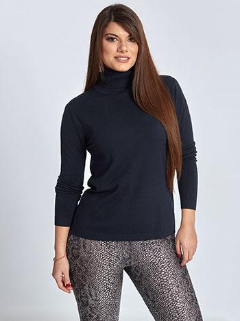 Plus size ζιβάγκο πουλόβερ, τελειώματα σε ριπ, ελαστικό ύφασμα, σκουρο μπλε