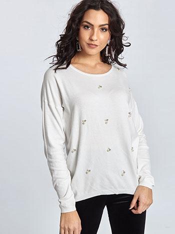 Πουλόβερ με πέρλες και strass WL1561.9625+3 μπλουζεσ πουλοβερ