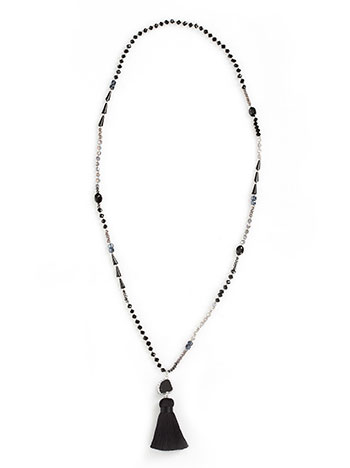 Necklace with beads ans decorative tassel black 1221a87de65