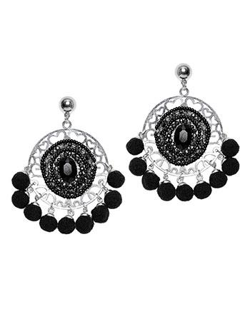 Ethnic σκουλαρίκια με χάντρες και πον πον WL1615.A262+2 κοσμηματα σκουλαρικια