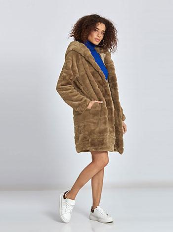 Κοντό παλτό από οικολογική-συνθετική γούνα σε εκρου 0d012f9cec7