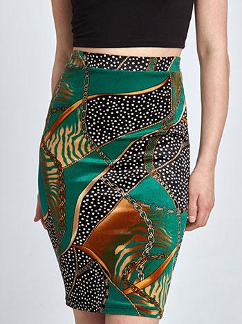 Βελούδινη εμπριμέ φούστα σε πρασινο 201f9eac55e