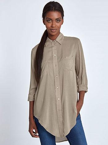 Μακρύ ασύμμετρο πουκάμισο WL3045.3001+1 μπλουζεσ πουκαμισα