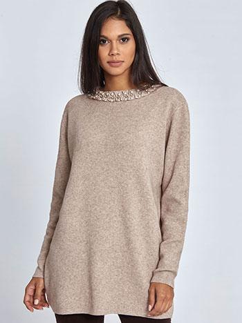 Μακρύ πουλόβερ με πέρλες και strass WL406.9686+5 μπλουζεσ πουλοβερ