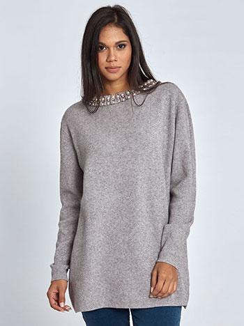 Μακρύ πουλόβερ με πέρλες και strass WL406.9686+1 μπλουζεσ πουλοβερ