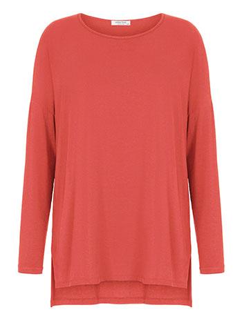 Plus size ασύμμετρη μπλούζα, λαιμόκοψη χαμόγελο, άνοιγμα στο πλάι, απαλή υφή, ύφασμα με ελαστικότητα, κοραλι