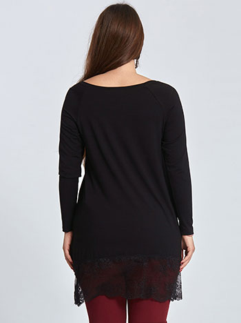 Plus size μπλούζα με δαντέλα curvy σε μαυρο e91fa1e046c
