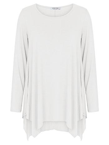 Plus size μακρυμάνικη μπλούζα με μύτες, λαιμόκοψη χαμόγελο, αφινίριστο τελείωμα, ελαστικό ύφασμα, εκρου