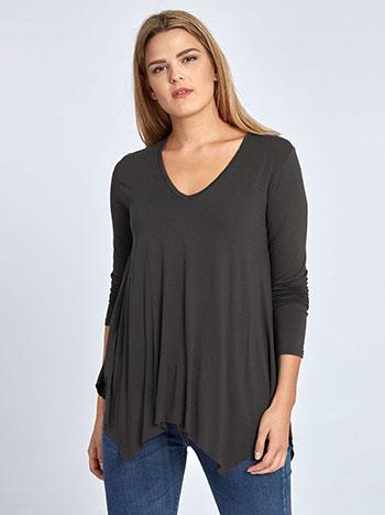 Plus size μπλούζα με μύτες, v λαιμόκοψη, αφινίριστο τελείωμα, ύφασμα με ελαστικότητα, ανθρακι