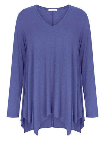 Plus size μπλούζα με μύτες, v λαιμόκοψη, αφινίριστο τελείωμα, ύφασμα με ελαστικότητα, μπλε
