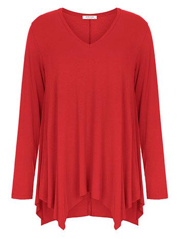 Plus size μπλούζα με μύτες, v λαιμόκοψη, αφινίριστο τελείωμα, ύφασμα με ελαστικότητα, κοκκινο