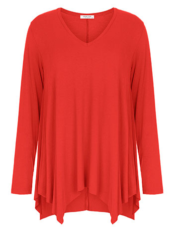 Plus size μπλούζα με μύτες, v λαιμόκοψη, αφινίριστο τελείωμα, ύφασμα με ελαστικότητα, κοκκινο ανοιχτο