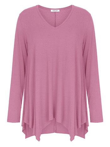 Plus size μπλούζα με μύτες, v λαιμόκοψη, αφινίριστο τελείωμα, ύφασμα με ελαστικότητα, μωβ ανοιχτο