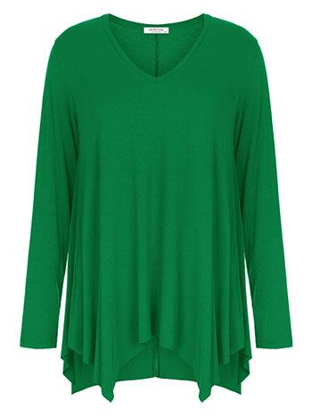 Plus size μπλούζα με μύτες, v λαιμόκοψη, αφινίριστο τελείωμα, ύφασμα με ελαστικότητα, πρασινο