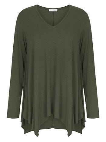 Plus size μπλούζα με μύτες, v λαιμόκοψη, αφινίριστο τελείωμα, ύφασμα με ελαστικότητα, χακι