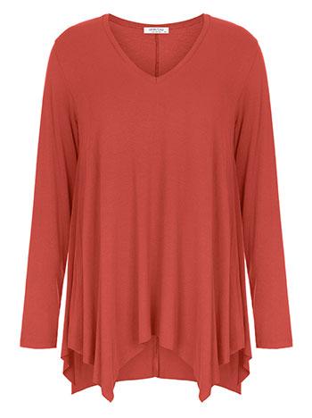 Plus size μπλούζα με μύτες, v λαιμόκοψη, αφινίριστο τελείωμα, ύφασμα με ελαστικότητα, κοραλι