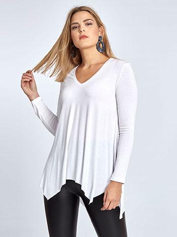 Plus size μπλούζα με μύτες, v λαιμόκοψη, αφινίριστο τελείωμα, ύφασμα με ελαστικότητα, λευκο