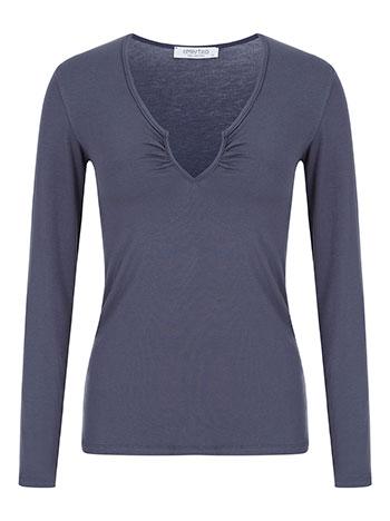 1f09ad063771 Μπλούζα με v λεπτομέρεια curvy σε μπλε ραφ