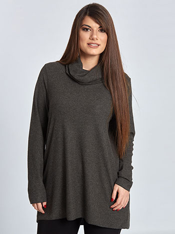 Plus size ριπ ζιβάγκο μπλούζα, ασύμμετρο τελείωμα, απαλή υφή, ζεστή αίσθηση, μακρύ μανίκι, ύφασμα με ελαστικότητα, γκρι σκουρο