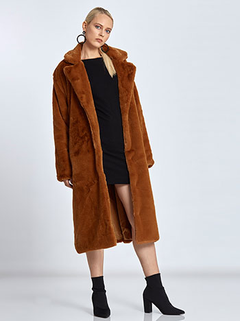 Faux fur long coat in brown 0448b579b5e