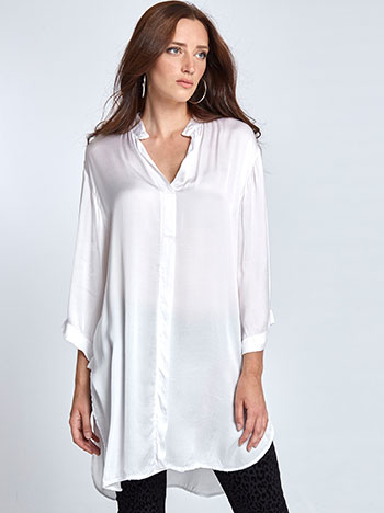 Μακριά μπλούζα με σατέν όψη WL7783.3580A+1 μπλουζεσ πουκαμισα