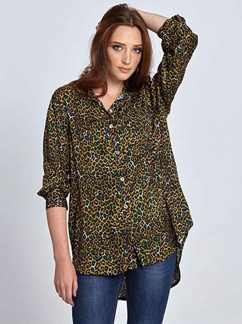 2a2bf01ffa99 Λεοπάρ πουκάμισο με σατέν όψη WL7783.3717+1