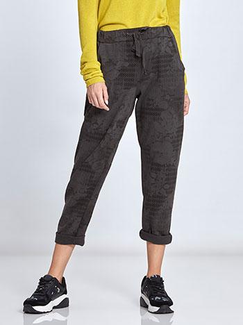 Εμπριμέ παντελόνι φόρμας με ρεβέρ WL7830.1191+1 παντελονια κολαν φορμεσ