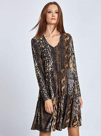 Mini φόρεμα με βολάν σε animal print WL8433.8004+1 φορεματα mini midi