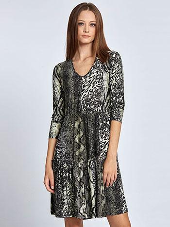 Mini φόρεμα με βολάν σε animal print WL8433.8004+3 φορεματα mini midi