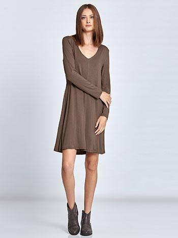 1965396f4022 Midi φόρεμα με βάτες σε καφε ανοιχτο