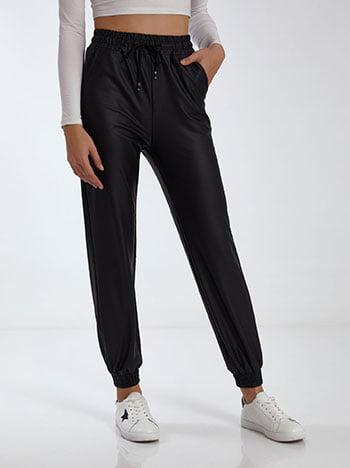 Παντελόνι δερματίνης, ελαστική μέση, με τσέπες, εσωτερικό κορδόνι, μαυρο