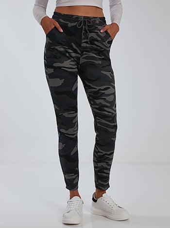 Παντελόνι φόρμας παραλλαγής, ελαστική μέση, με τσέπες, εσωτερικό κορδόνι, γκρι σκουρο