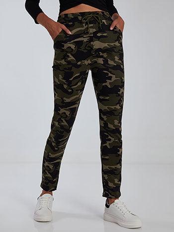 Παντελόνι φόρμας παραλλαγής, ελαστική μέση, με τσέπες, εσωτερικό κορδόνι, χακι
