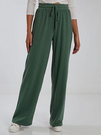 Φόρμα με τσέπες, ελαστική μέση, εσωτερικό κορδόνι, celestino collection, πρασινο