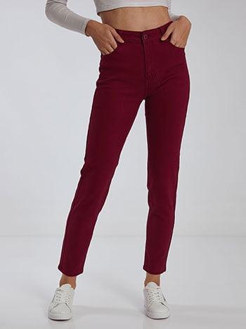 Παντελόνι με βαμβάκι, κλείσιμο με φερμουάρ και κουμπί, πέντε τσέπες, ύφασμα με ελαστικότητα, μπορντο
