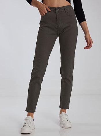 Παντελόνι με βαμβάκι, κλείσιμο με φερμουάρ και κουμπί, πέντε τσέπες, ύφασμα με ελαστικότητα, χακι