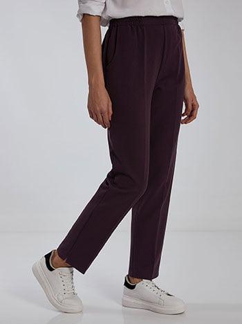 Παντελόνι με τσέπες, ελαστική μέση, μωβ σκουρο