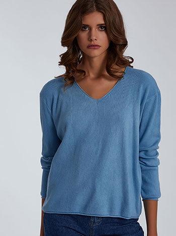 Πουλόβερ με βαμβάκι, v λαιμόκοψη, ύφασμα με ελαστικότητα, απαλή υφή, μπλε ανοιχτο