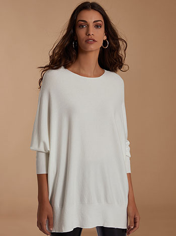 Oversized πουλόβερ, λαιμόκοψη χαμόγελο, απαλή υφή, λευκο