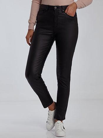Παντελόνι με όψη δερματίνης, κλείσιμο με φερμουάρ και κουμπί, πέντε τσέπες, ύφασμα με ελαστικότητα, μαυρο