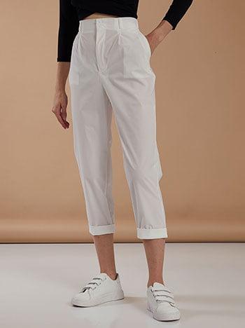 Κάπρι παντελόνι με πιέτες, κλείσιμο με φερμουάρ και κουμπί, με τσέπες, θηλιές στη μέση, λευκο